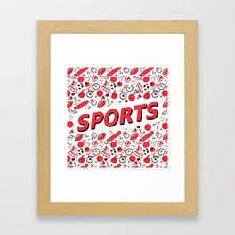 I Love Sports (red pattern) Framed Art Print