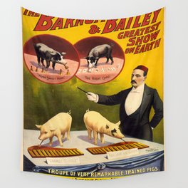 Vintage poster - Trained pigs Wall Tapestry