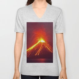 Volcano in Eruption Unisex V-Neck