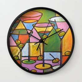 Abstract Art Wine Bar Alcohol Painting ... Martinis and Olives Wall Clock