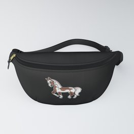Brown Pinto Trotting Horse Cute Cartoon Illustration Fanny Pack