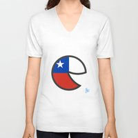 chile V-neck T-shirts featuring Chile Smile by onejyoo