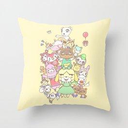 Animal Crossing (yellow) Throw Pillow