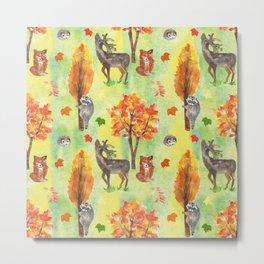 Woodland Watercolor animals Metal Print