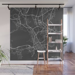 Helsinki Map, Finland - Gray Wall Mural