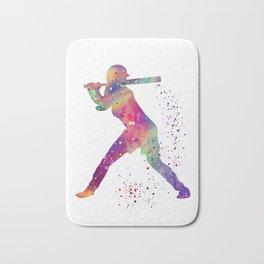 Girl Baseball Player Softball Batter Colorful Watercolor Art Bath Mat