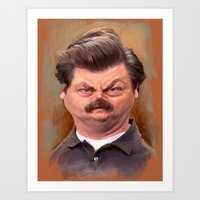 swanson Art Prints featuring Swanson by Jason Seiler