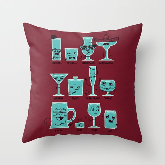 Field Guide to Alcoholic Drinkware Throw Pillow