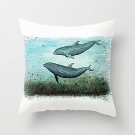 """Two Inshore Dolphins"" by Amber Marine ~ Watercolor Painting, (Copyright 2015) Throw Pillow"