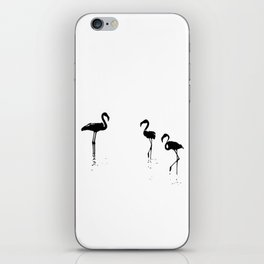 We Are The Three Flamingos Silhouette In Black iPhone Skin