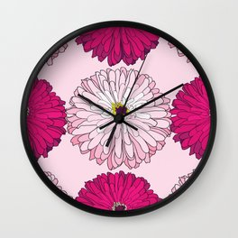 Pattern with pink and magenta blossom zinnias Wall Clock