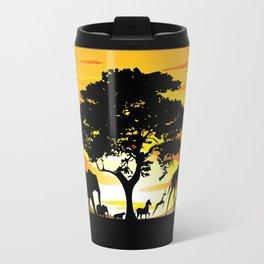 Wild Animals on African Savanna Sunset  Travel Mug
