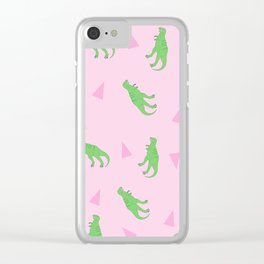 T-Rex Girly Pattern Clear iPhone Case