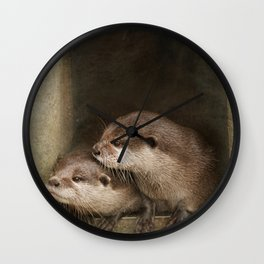 The curious otters Wall Clock