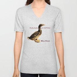 Miss Pond: Pushy Ducks Get Stuff Done Unisex V-Neck