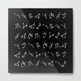Zodiac Constellation Pattern Metal Print