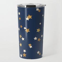 Navy blue faux gold glitter elegant starry pattern Travel Mug