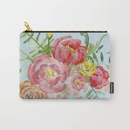 Bouquet of Watercolor on Blue Background Carry-All Pouch