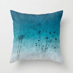 Blue Floral ~ silhouettes Throw Pillow