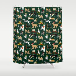 Christmas Dogs Green Shower Curtain