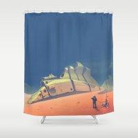 dune Shower Curtains featuring Dune walker by DanielVijoi
