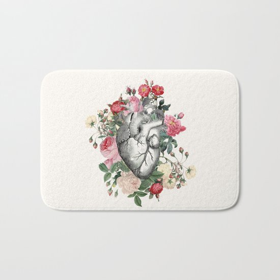 Roses for her Heart Bath Mat