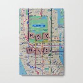 New York City, NYC Map, Subway, Travel Metal Print