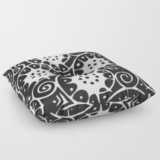 Black and White Swirl Pattern Floor Pillow