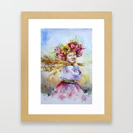 Ukrainian girl in fields Framed Art Print