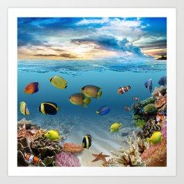 Underwater Ocean Tropical Coral Reef Art Print