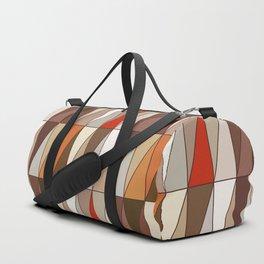 Modern Geometric Triangles, Beige, Brown, Red, Gold Duffle Bag