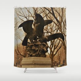 Eagles and Prey Sculpture in NYC Central Park Shower Curtain