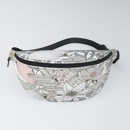Seamless pattern design with hand drawn flowers and floral elements Fanny Pack