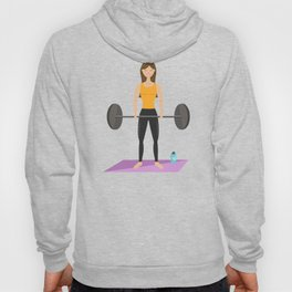 Strong Fitness Girl Deadlifting Weights Cartoon Illustration Hoody