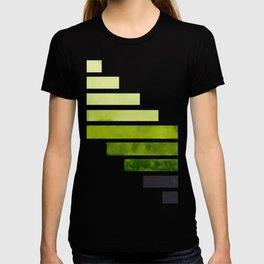 Sap Green Midcentury Modern Minimalist Staggered Stripes Rectangle Geometric Pattern Watercolor Art T-shirt