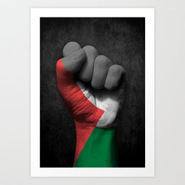 Palestinian Flag on a Raised Clenched Fist Art Print