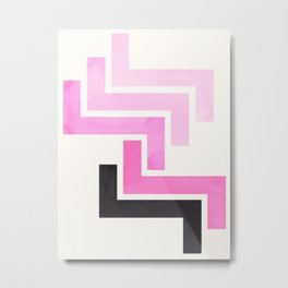 Pink Ancient Aztec Pattern Mid-century Modern Simple Geometric Pattern Watercolor Minimalist Art Squ Metal Print