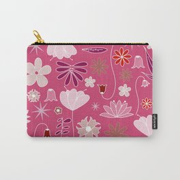 Miscellaneous flowers in a pink backgound Carry-All Pouch