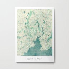 New Haven Map Blue Vintage Metal Print
