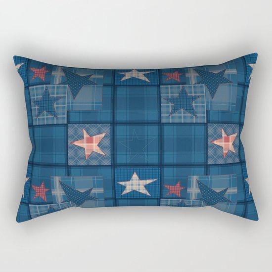 Blue denim patchwork . Rectangular Pillow