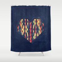 interstellar Shower Curtains featuring Interstellar Heart by VessDSign