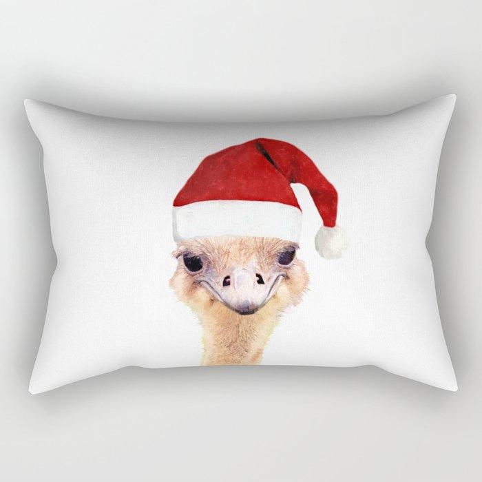 Ostrich Christmas Rectangular Pillow