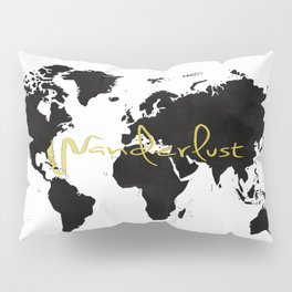 Black World Map Pillow Sham