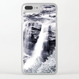 West Virginia Blackwater Falls Black and White Clear iPhone Case