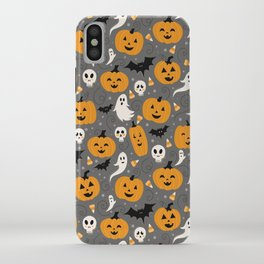 Pumpkin Party in Gray iPhone Case