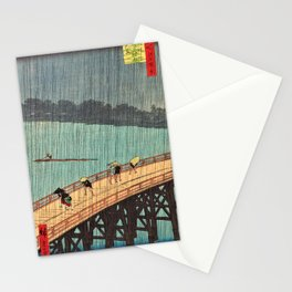 Utagawa Hiroshige - One Hundred Famous Views of Edo - Sudden Shower over Shin-Ohashi Bridge and Atake Stationery Cards