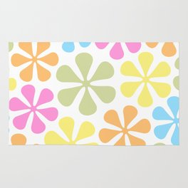 Abstract Flowers Bright Color Mix Rug