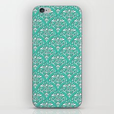 damask pattern torquoise with shadow iPhone & iPod Skin