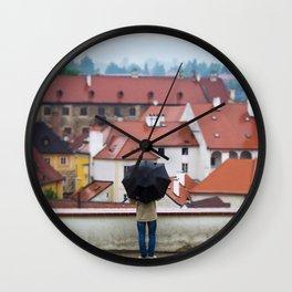 Man with Black Umbrella Wall Clock