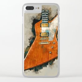 The Edge's electric guitar, guitar wall art, studio decor, music room decor, gift for guitarist Clear iPhone Case